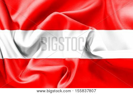 Austrian flag texture 3D illustration creased and crumpled up
