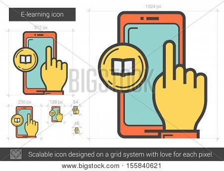 E-learning vector line icon isolated on white background. E-learning line icon for infographic, website or app. Scalable icon designed on a grid system.