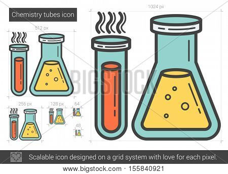 Chemistry tubes vector line icon isolated on white background. Chemistry tubes line icon for infographic, website or app. Scalable icon designed on a grid system.