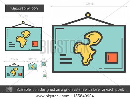 Geography vector line icon isolated on white background. Geography line icon for infographic, website or app. Scalable icon designed on a grid system.