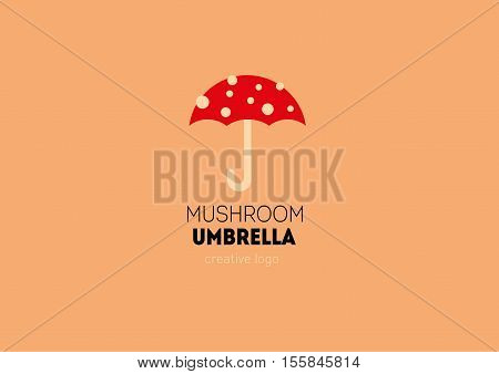 Creative logo with a double meaning umbrella in the form of a mushroom