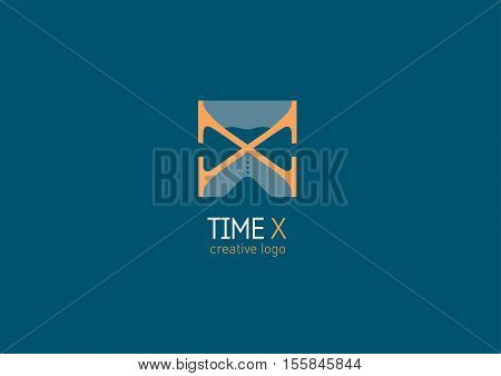Creative logo with a double meaning, the letter X and hourglass