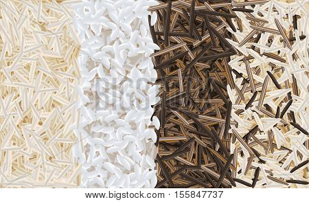 Mixed wild brown, risotto and basmati rice realistic pattern vector illustration background