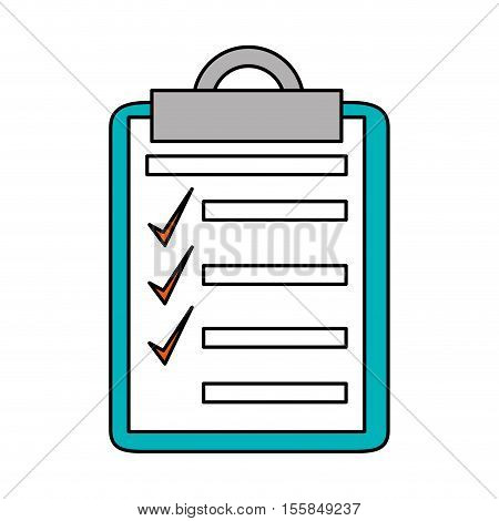 Checklist with checkmark icon. Office paper form and document theme. Isolated design. Vector illustration