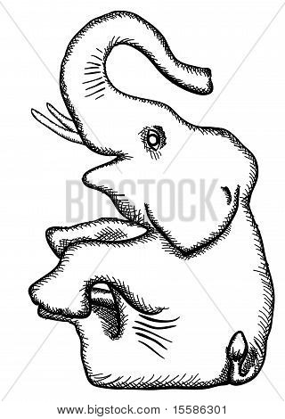Vector Simplified Monochrome Drawing - Elephant