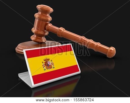 3D Illustration. 3d wooden mallet and Spanish flag. Image with clipping path