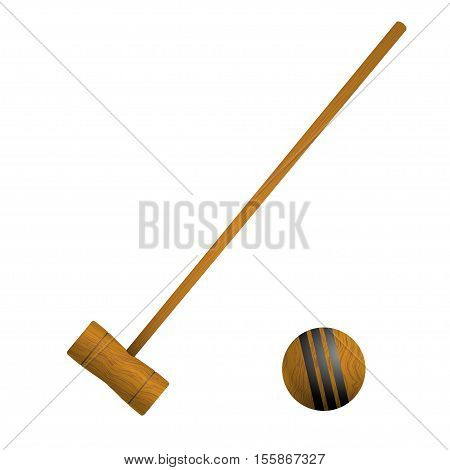 Mallet and ball croquet isolated on white background