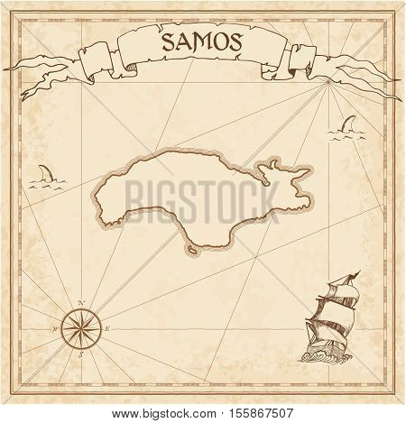 Samos Old Treasure Map. Sepia Engraved Template Of Pirate Island Parchment. Stylized Manuscript On V