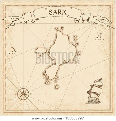 Sark Old Treasure Map. Sepia Engraved Template Of Pirate Island Parchment. Stylized Manuscript On Vi