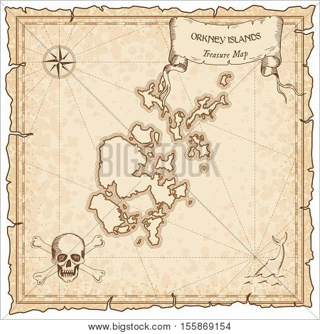 Orkney Islands Old Pirate Map. Sepia Engraved Parchment Template Of Treasure Island. Stylized Manusc
