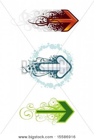 Grunge vector arrows