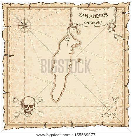 San Andres Old Pirate Map. Sepia Engraved Parchment Template Of Treasure Island. Stylized Manuscript