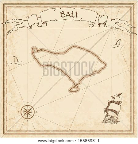 Bali Old Treasure Map. Sepia Engraved Template Of Pirate Island Parchment. Stylized Manuscript On Vi