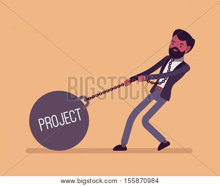 Businessman dragging a giant heavy weight on chain, written Project on a ball. Cartoon vector flat-style concept illustration