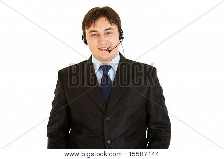 Smiling modern businessman with headset isolated on white