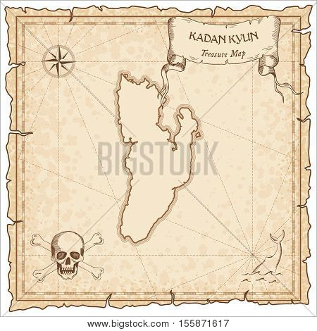 Kadan Kyun Old Pirate Map. Sepia Engraved Parchment Template Of Treasure Island. Stylized Manuscript