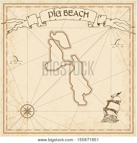 Pig Beach Old Treasure Map. Sepia Engraved Template Of Pirate Island Parchment. Stylized Manuscript