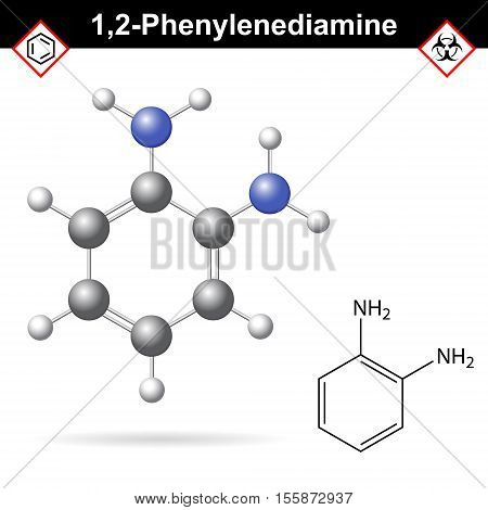 Ortho Phenylenediamine chemical structure 2d and 3d vector illustration of chemical structure isolated on white background eps 10