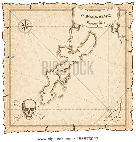 Okinawa Island Old Pirate Map. Sepia Engraved Parchment Template Of Treasure Island. Stylized Manusc