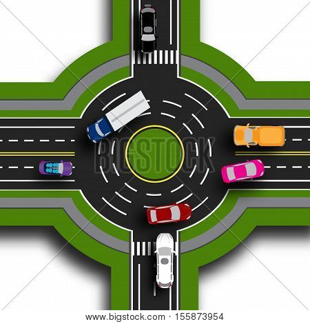 Road infographics. Top view 3d. Road interchange, roundabouts. This shows the movement of cars. Sidewalks and crossings. Vector illustration