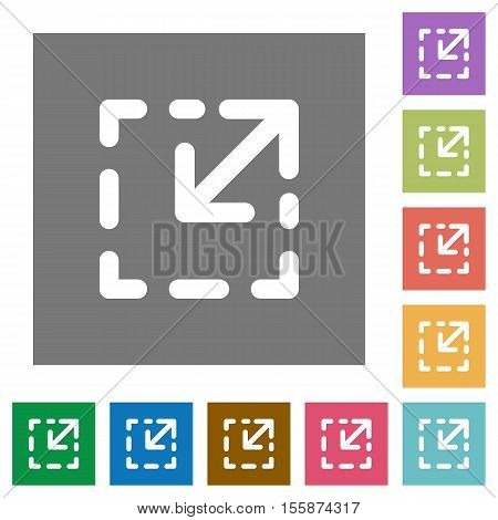 Resize element flat icons on simple color square background.