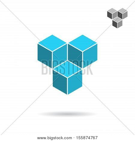 Cube logo template cooperation concept 3d isometric vector illustration isolated on white background eps 10