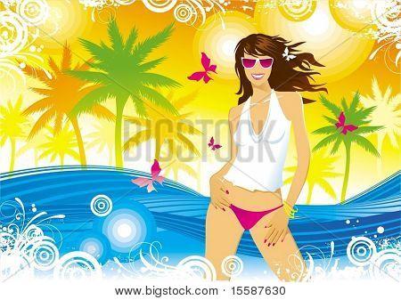 Menina, palmas, borboletas, mar, Verão