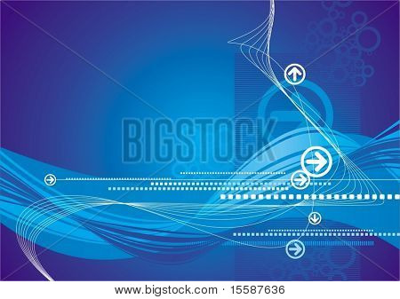 Ultra-modern blue background with arrows and waves