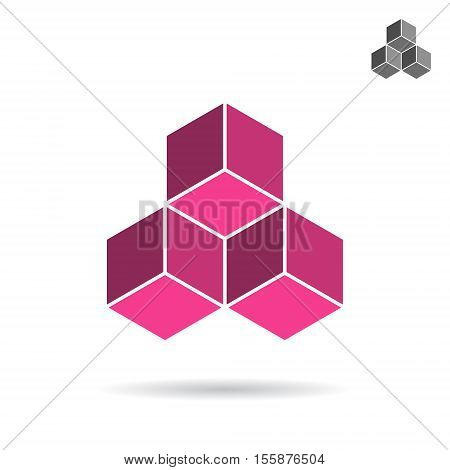Cubes collected together cube icon cooperation concept 3d isometric vector illustration isolated on white background eps 10