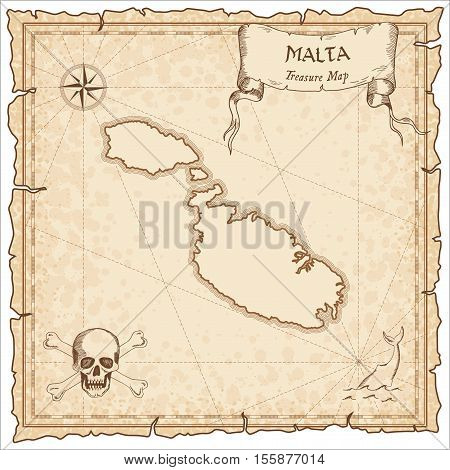 Malta Old Pirate Map. Sepia Engraved Parchment Template Of Treasure Island. Stylized Manuscript On V