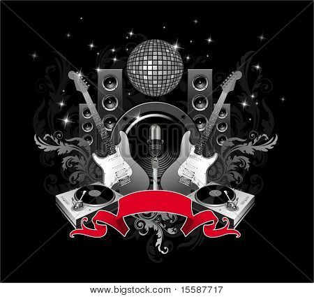 Illustration with microphone, guitars, loudspeakers & mirrorball