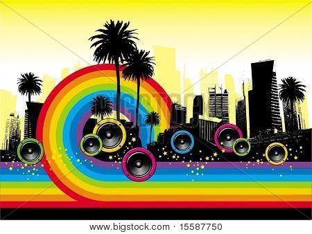 Stadtansicht mit Palmen, Lautsprecher & Regenbogen