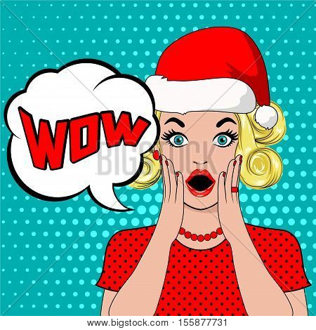 wow bubble pop art surprised blond woman in christmas hat. christmas card with young shocked blonde woman in pop art style. New year poster in pop up style.