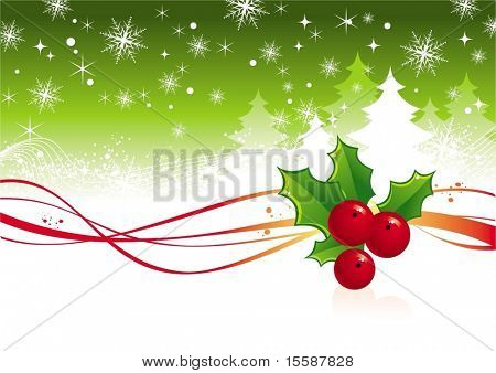 Christmas background with berry