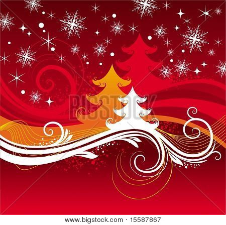 Red winter background with christmas tree