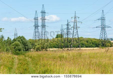 Power Poles. Pole With Wires. Steel Structures Supporting Wires