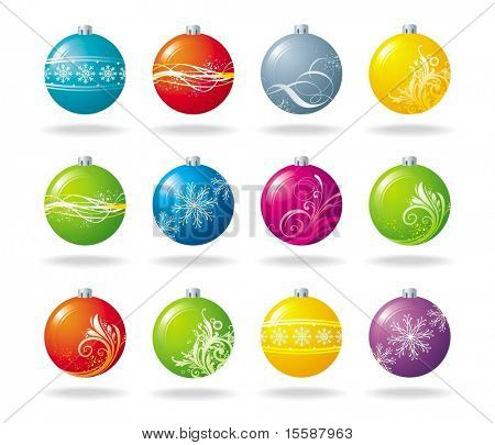 Twelve different christmas balls