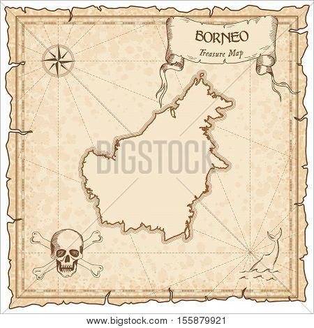 Borneo Old Pirate Map. Sepia Engraved Parchment Template Of Treasure Island. Stylized Manuscript On
