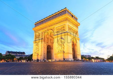 Arch of Triumph Champs-Elysees at night in Paris