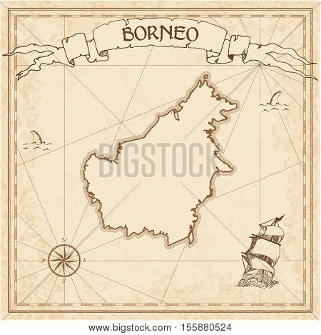 Borneo Old Treasure Map. Sepia Engraved Template Of Pirate Island Parchment. Stylized Manuscript On
