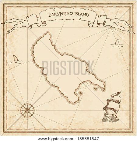 Zakynthos Island Old Treasure Map. Sepia Engraved Template Of Pirate Island Parchment. Stylized Manu