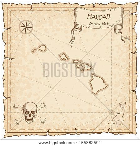 Hawaii Old Pirate Map. Sepia Engraved Parchment Template Of Treasure Island. Stylized Manuscript On