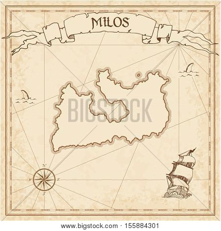 Milos Old Treasure Map. Sepia Engraved Template Of Pirate Island Parchment. Stylized Manuscript On V