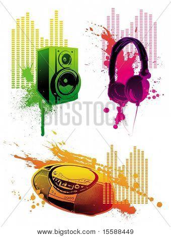 Grunge loudspeaker, headphones & tape recorder