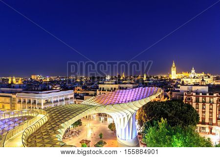 SEVILLASPAIN JUNE 04 : Metropol Parasol in Plaza de la Encarnacion on June 04 2014 in Sevilla Spain. J. Mayer H. architects it is made from bonded timber with a polyurethane coating.