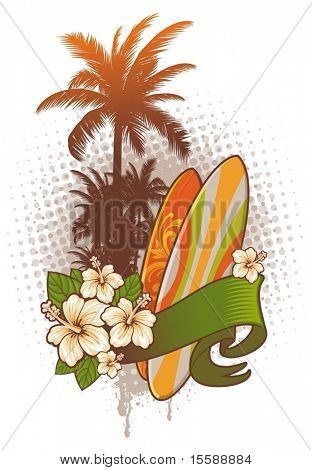 Surfboards, hibiscus and palm trees