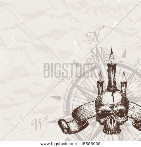 Compass rose and piracy skull
