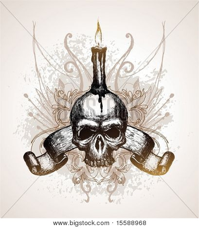 Skull, scroll and candle