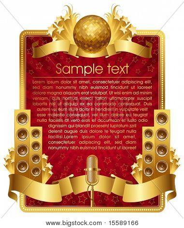 Rahmen mit goldenen musikalischen Objekte