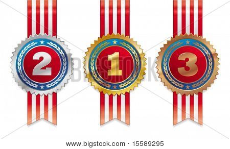 Drei Amerikaner Medaillen - Gold, Silber und bronze